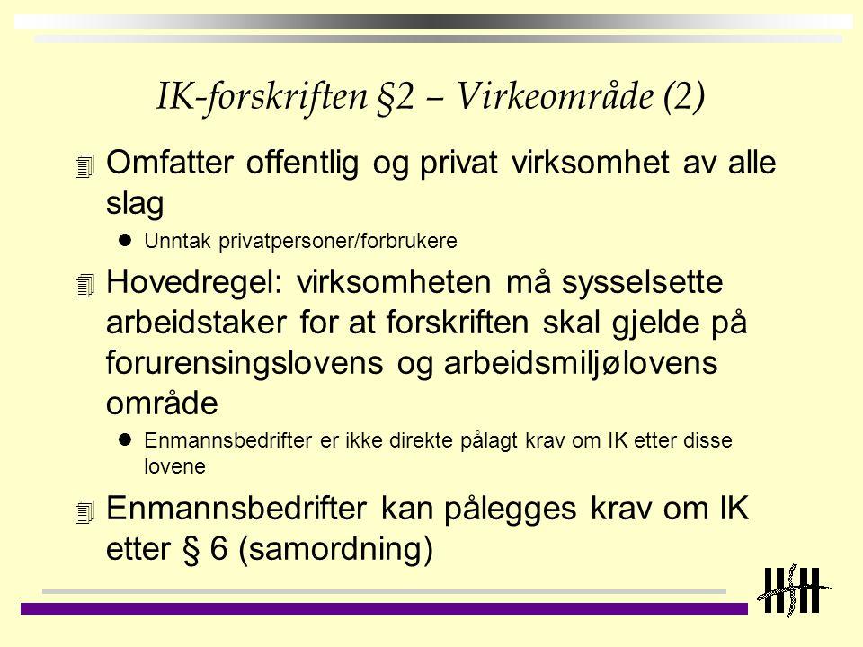 IK-forskriften §2 – Virkeområde (2)