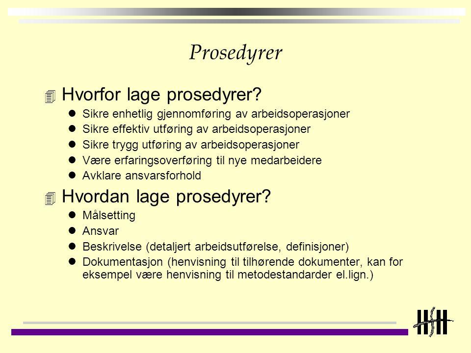 Prosedyrer Hvorfor lage prosedyrer Hvordan lage prosedyrer