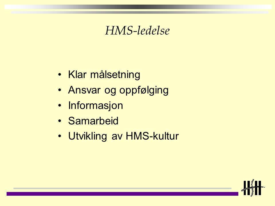 HMS-ledelse Klar målsetning Ansvar og oppfølging Informasjon Samarbeid