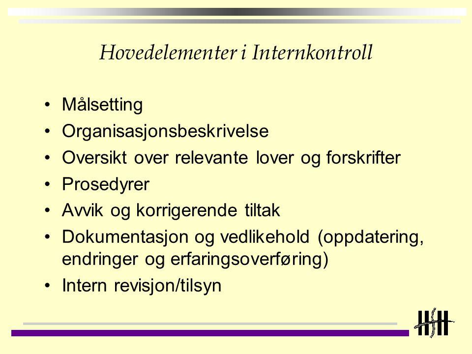Hovedelementer i Internkontroll