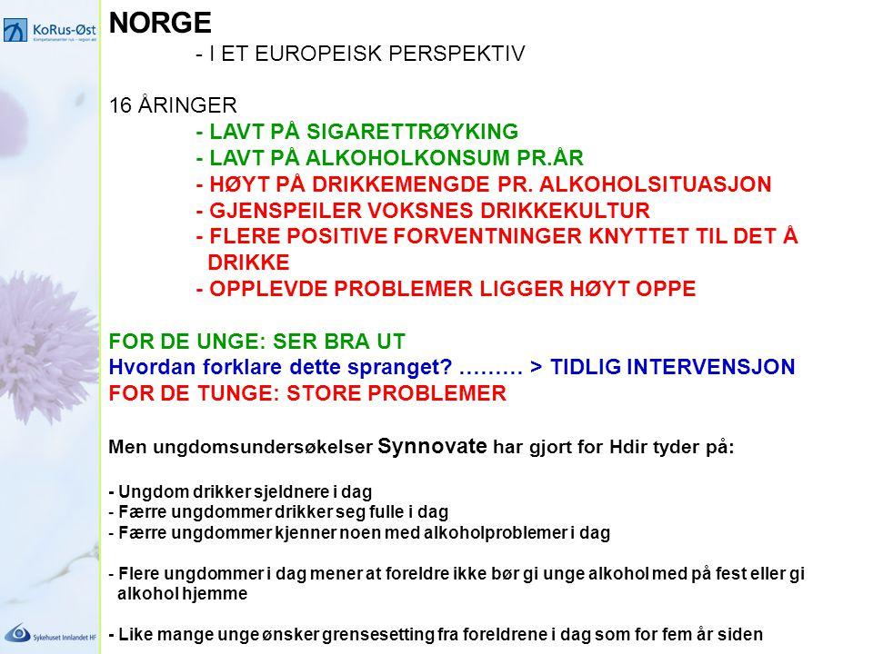 NORGE - I ET EUROPEISK PERSPEKTIV 16 ÅRINGER - LAVT PÅ SIGARETTRØYKING