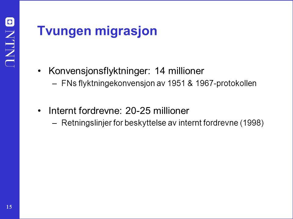 Tvungen migrasjon Konvensjonsflyktninger: 14 millioner