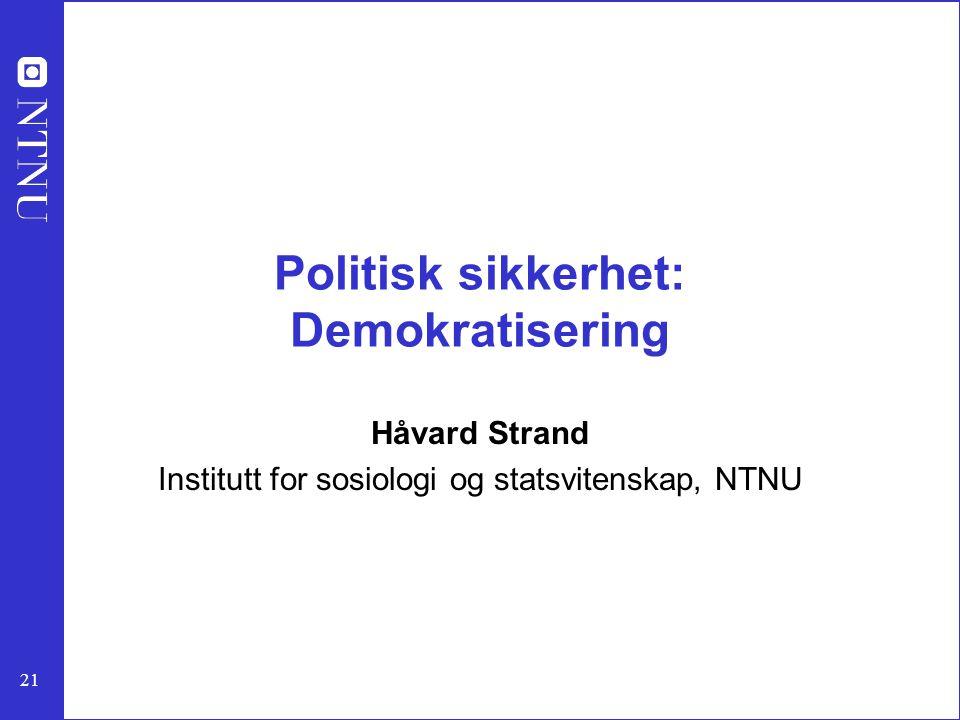 Politisk sikkerhet: Demokratisering