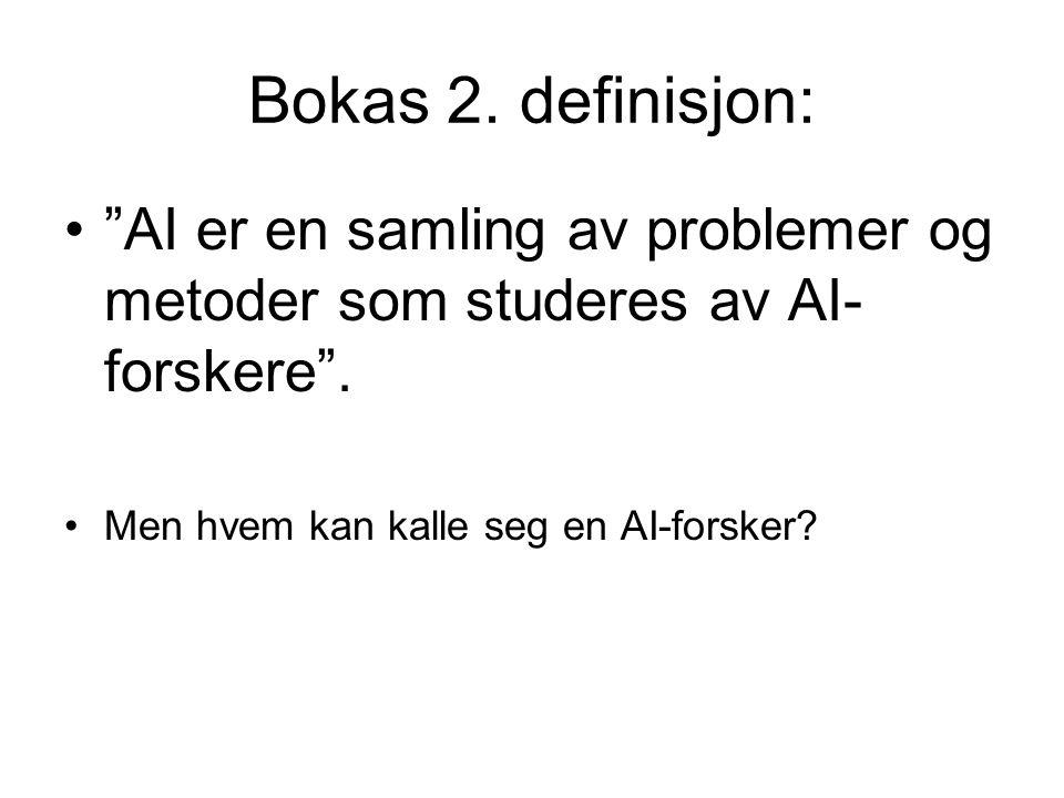 Bokas 2. definisjon: AI er en samling av problemer og metoder som studeres av AI-forskere .