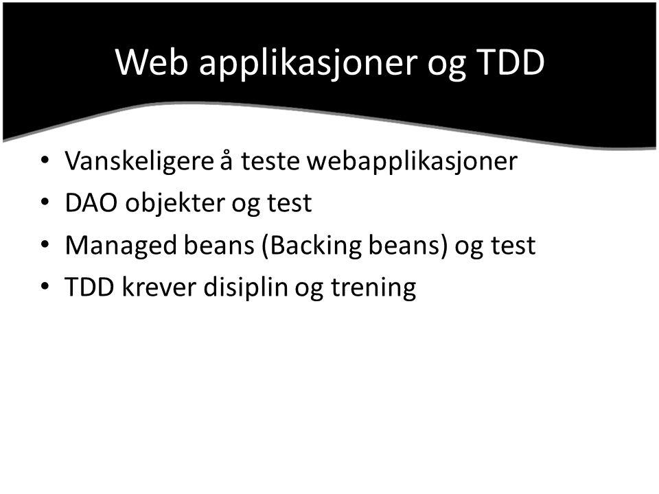 Web applikasjoner og TDD