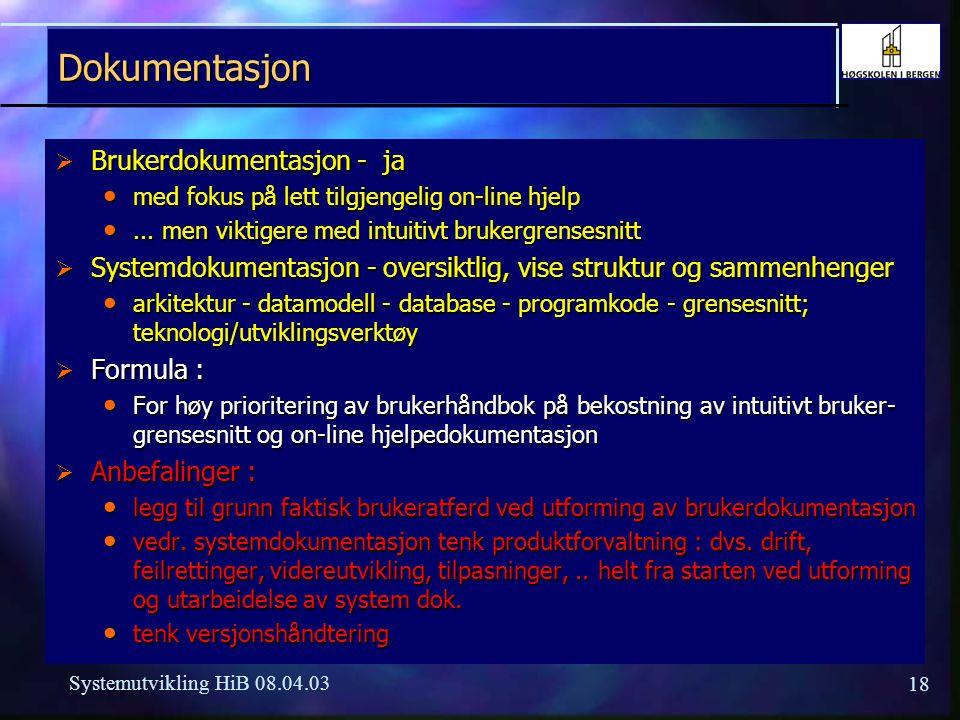 Dokumentasjon Brukerdokumentasjon - ja