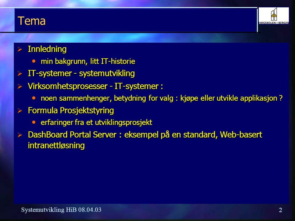 Tema Innledning IT-systemer - systemutvikling