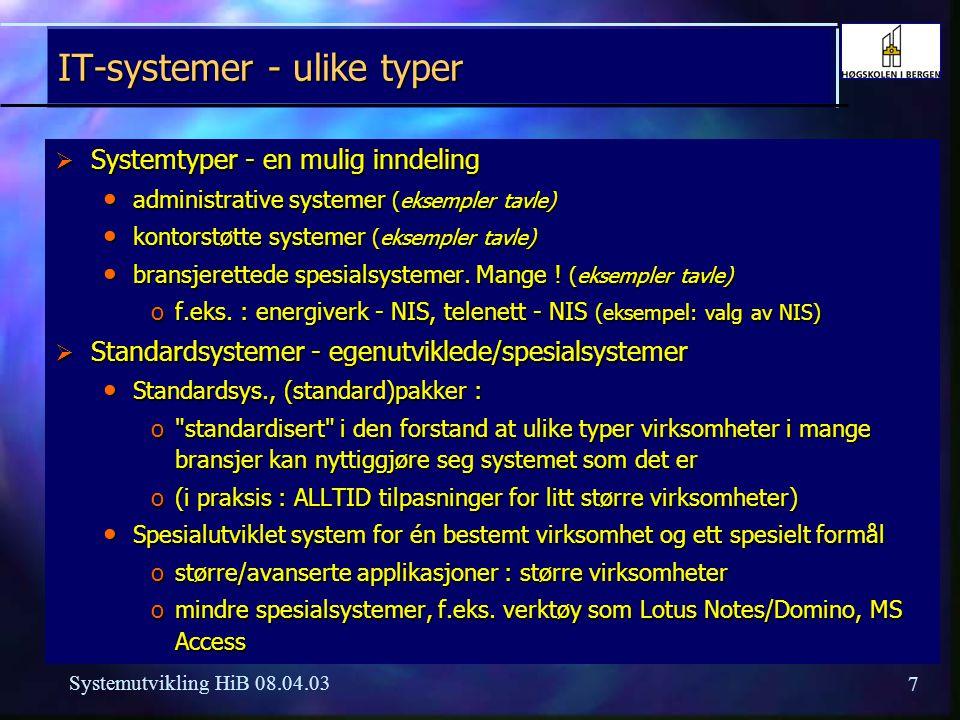 IT-systemer - ulike typer