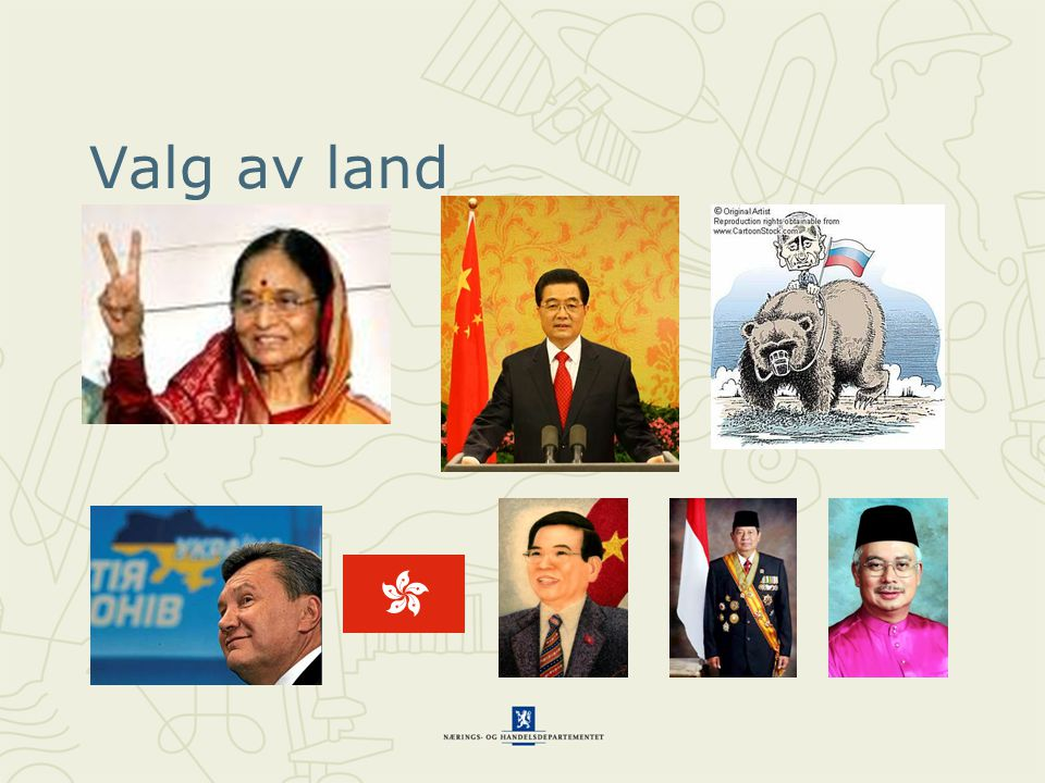 Valg av land