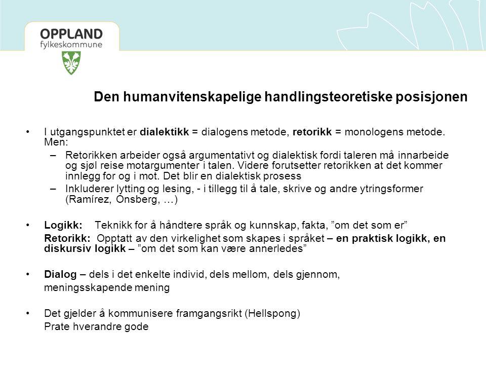 Den humanvitenskapelige handlingsteoretiske posisjonen