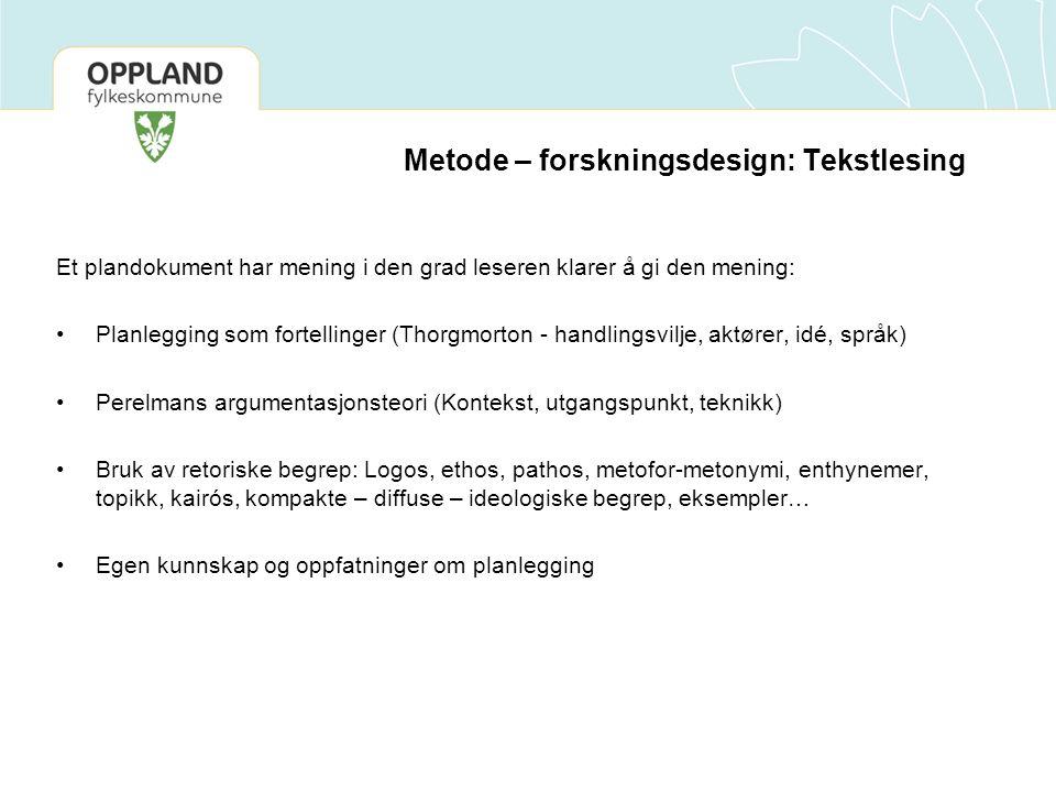 Metode – forskningsdesign: Tekstlesing