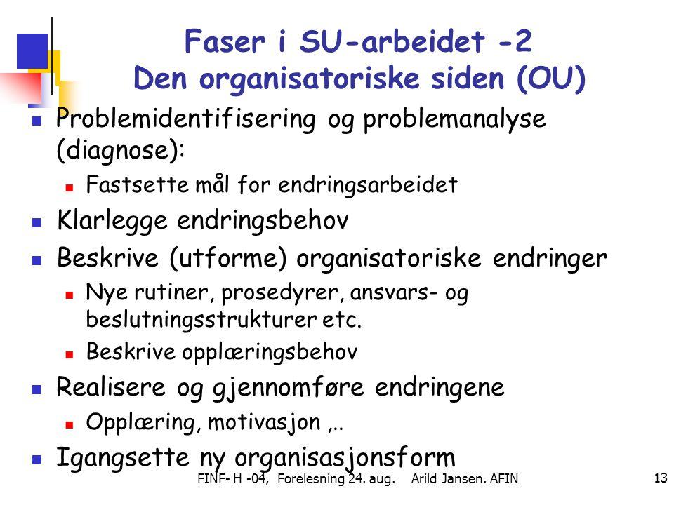 Faser i SU-arbeidet -2 Den organisatoriske siden (OU)