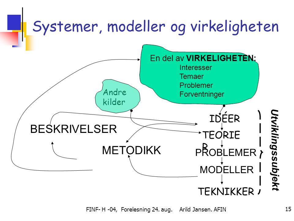 Systemer, modeller og virkeligheten