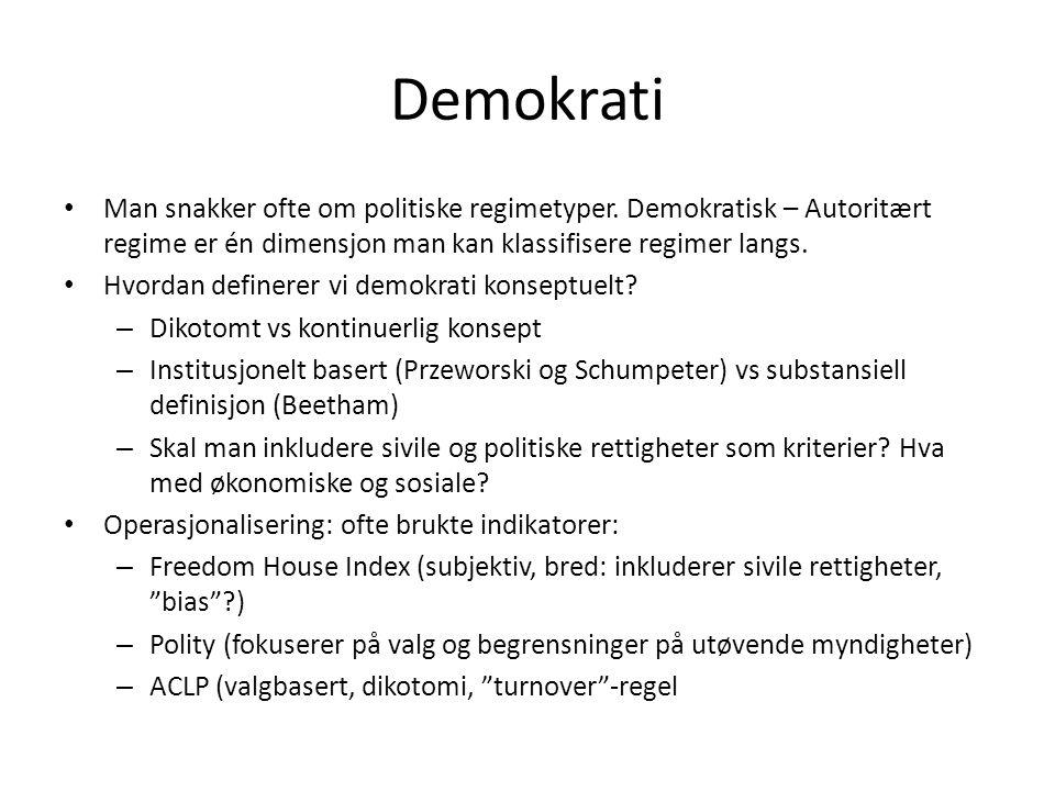 Demokrati Man snakker ofte om politiske regimetyper. Demokratisk – Autoritært regime er én dimensjon man kan klassifisere regimer langs.
