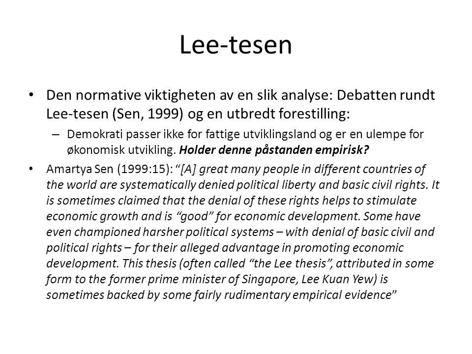 Lee-tesen Den normative viktigheten av en slik analyse: Debatten rundt Lee-tesen (Sen, 1999) og en utbredt forestilling: