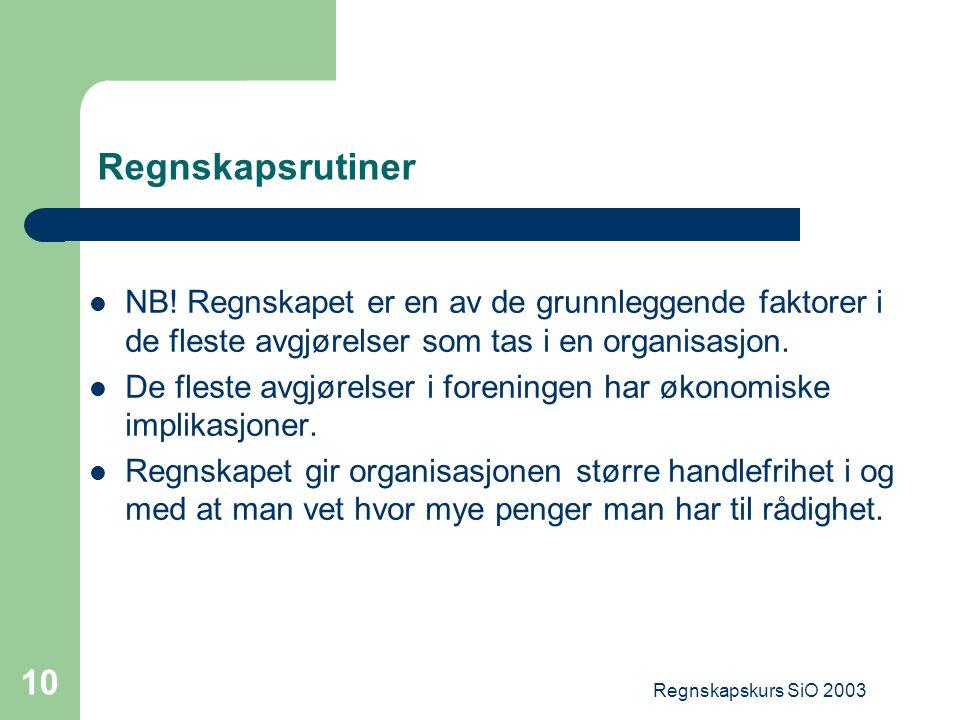Regnskapsrutiner NB! Regnskapet er en av de grunnleggende faktorer i de fleste avgjørelser som tas i en organisasjon.