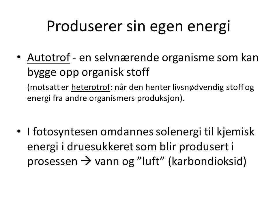 Produserer sin egen energi