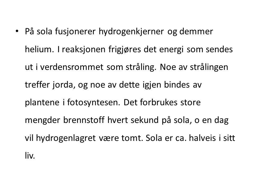 På sola fusjonerer hydrogenkjerner og demmer helium