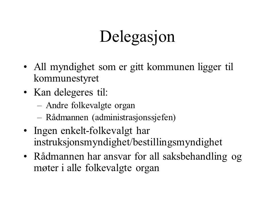Delegasjon All myndighet som er gitt kommunen ligger til kommunestyret