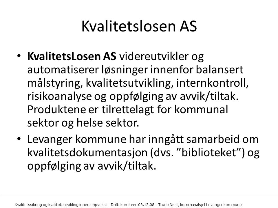 Kvalitetslosen AS