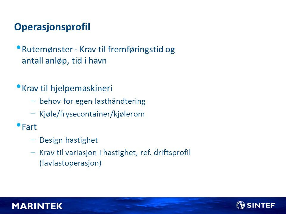 Operasjonsprofil Rutemønster - Krav til fremføringstid og antall anløp, tid i havn. Krav til hjelpemaskineri.