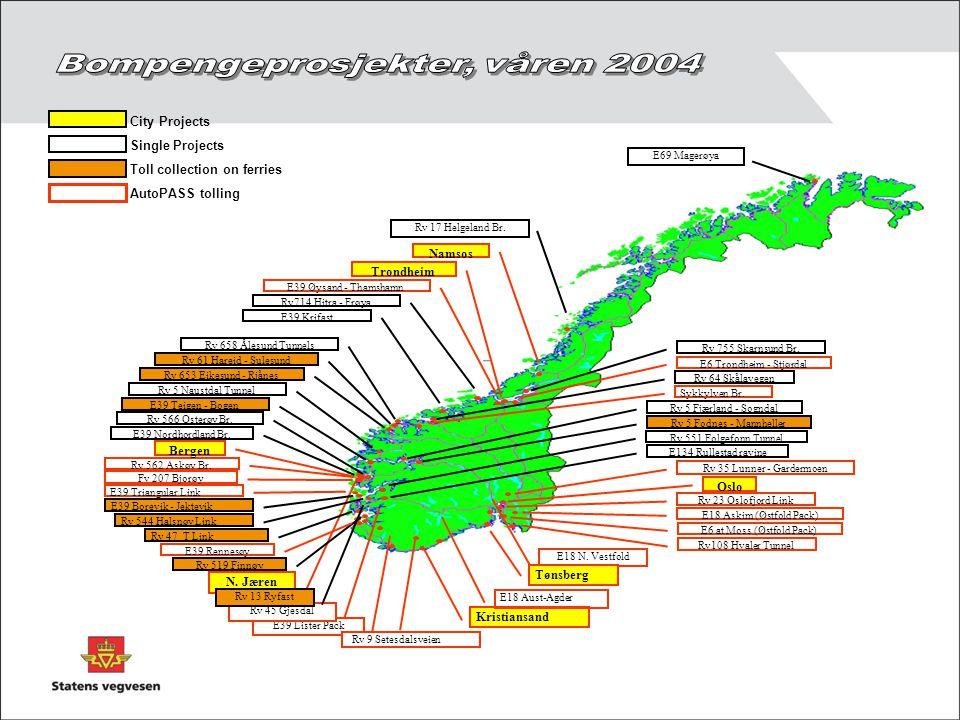 Bompengeprosjekter, våren 2004