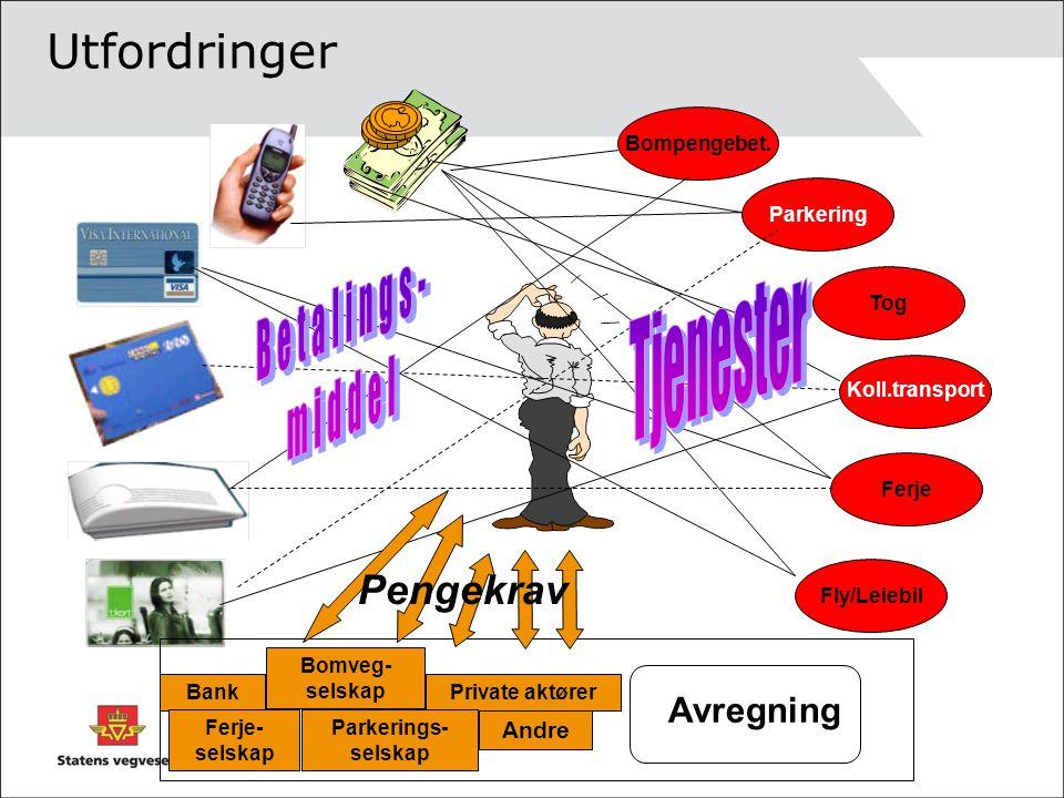 Utfordringer Tjenester Betalings- middel Pengekrav Avregning Andre