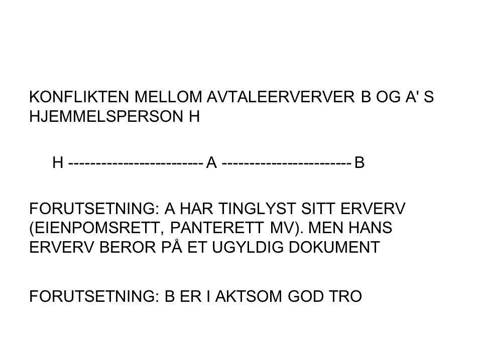 KONFLIKTEN MELLOM AVTALEERVERVER B OG A S HJEMMELSPERSON H
