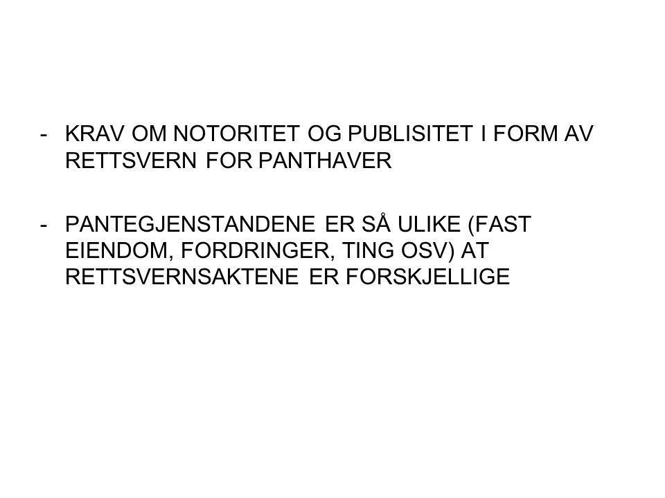KRAV OM NOTORITET OG PUBLISITET I FORM AV RETTSVERN FOR PANTHAVER