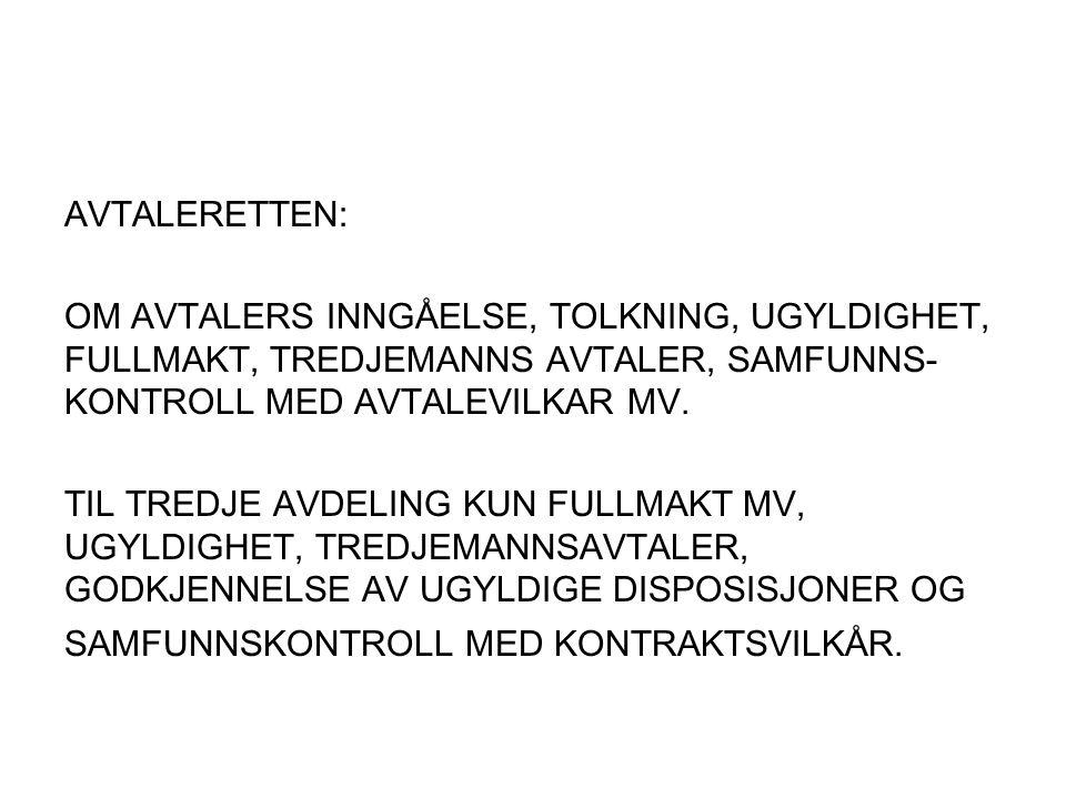AVTALERETTEN: OM AVTALERS INNGÅELSE, TOLKNING, UGYLDIGHET, FULLMAKT, TREDJEMANNS AVTALER, SAMFUNNS- KONTROLL MED AVTALEVILKAR MV.