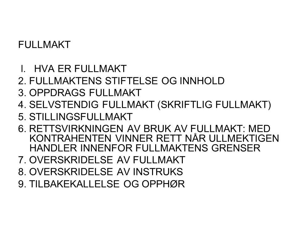 FULLMAKT l. HVA ER FULLMAKT. 2. FULLMAKTENS STIFTELSE OG INNHOLD. 3. OPPDRAGS FULLMAKT. 4. SELVSTENDIG FULLMAKT (SKRIFTLIG FULLMAKT)
