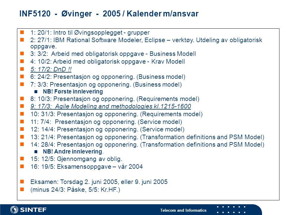 INF5120 - Øvinger - 2005 / Kalender m/ansvar