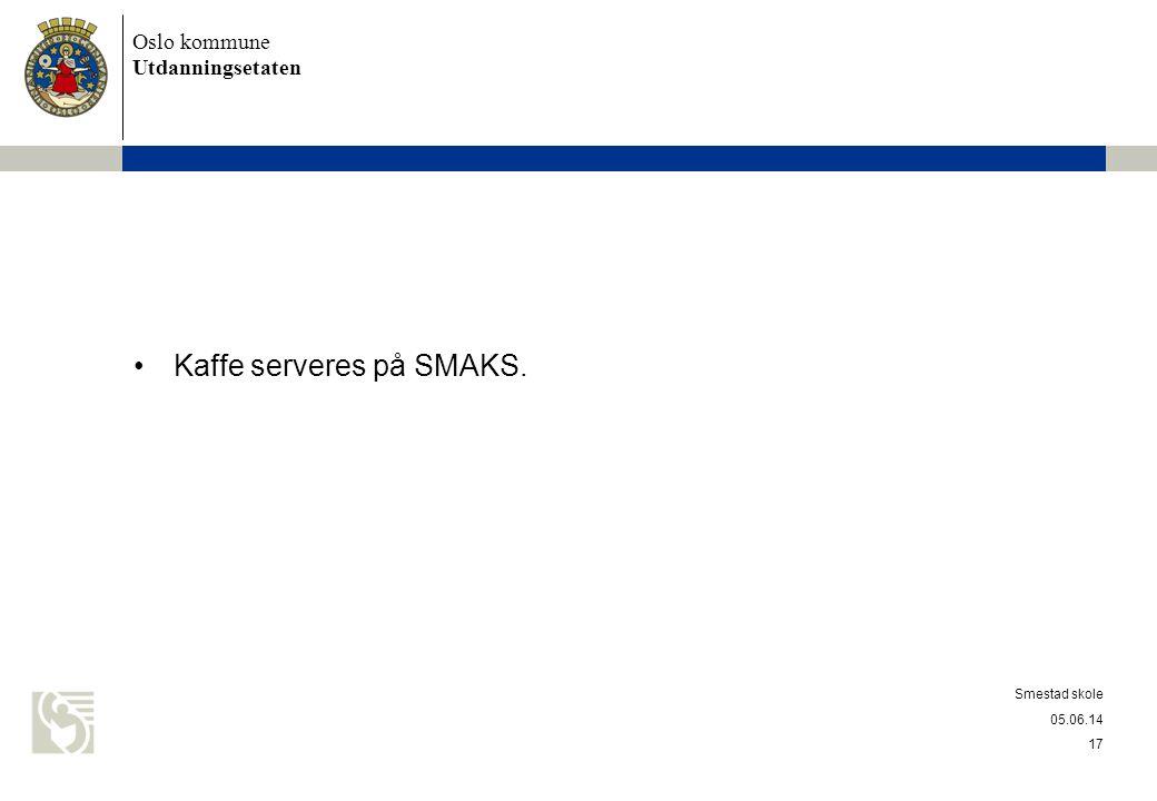 Kaffe serveres på SMAKS.