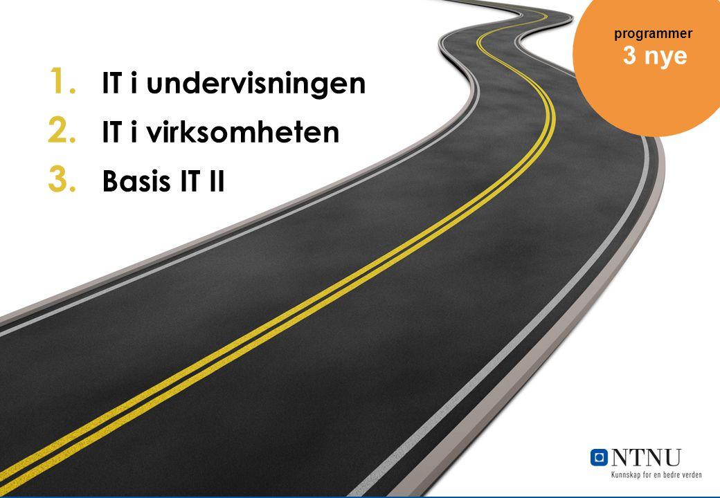 IT i undervisningen IT i virksomheten Basis IT II 3 nye programmer