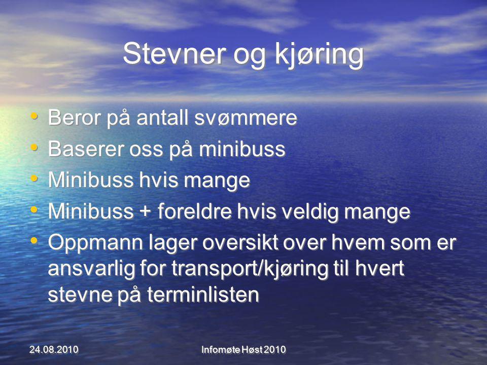 Stevner og kjøring Beror på antall svømmere Baserer oss på minibuss