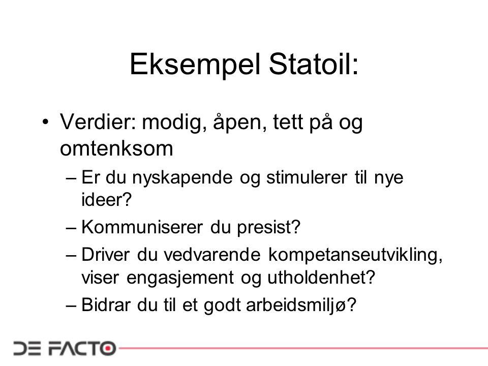 Eksempel Statoil: Verdier: modig, åpen, tett på og omtenksom