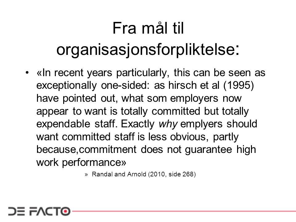 Fra mål til organisasjonsforpliktelse: