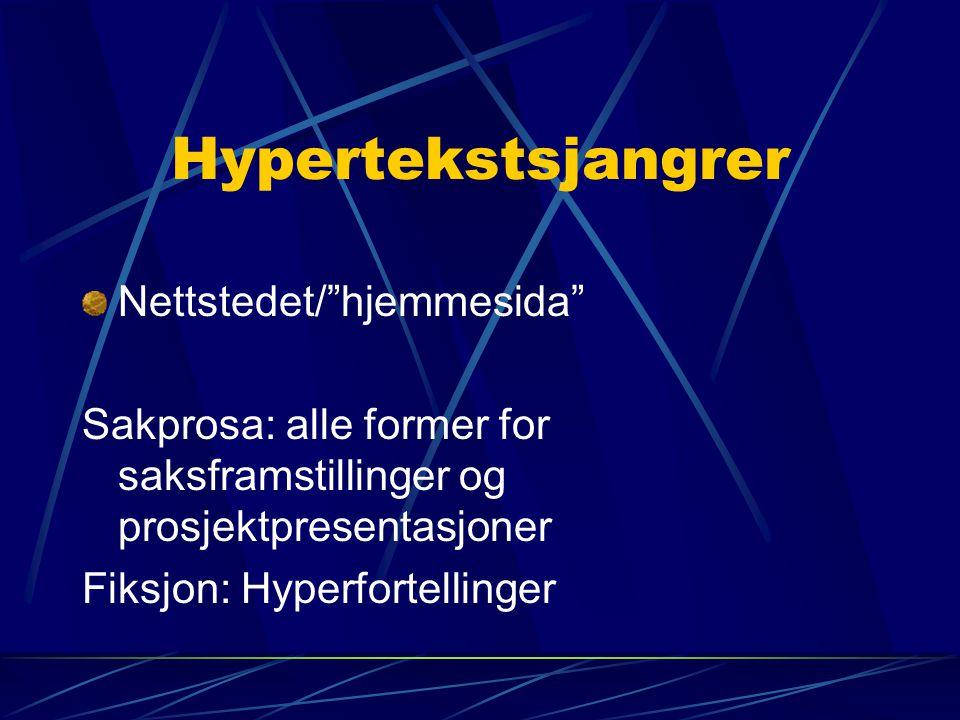 Hypertekstsjangrer Nettstedet/ hjemmesida
