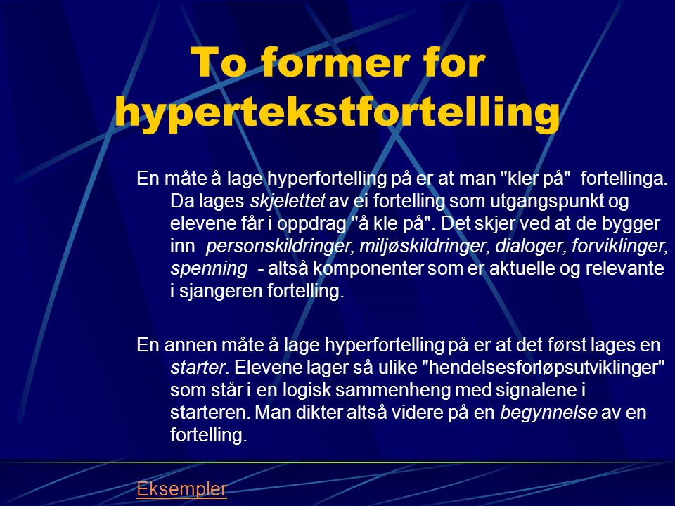 To former for hypertekstfortelling