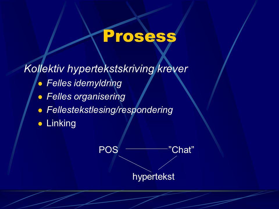 Prosess Kollektiv hypertekstskriving krever Felles idemyldring