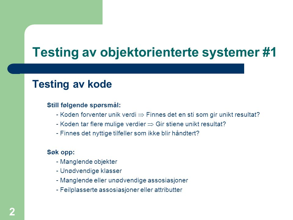 Testing av objektorienterte systemer #1