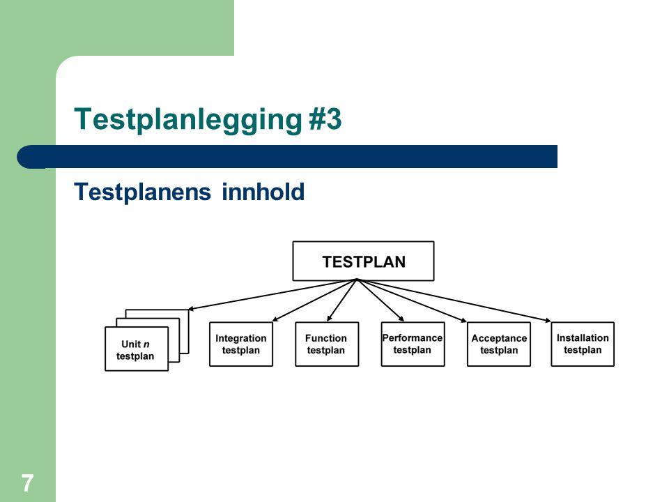 Testplanlegging #3 Testplanens innhold
