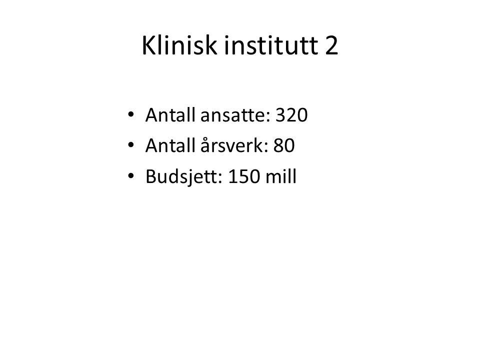 Klinisk institutt 2 Antall ansatte: 320 Antall årsverk: 80