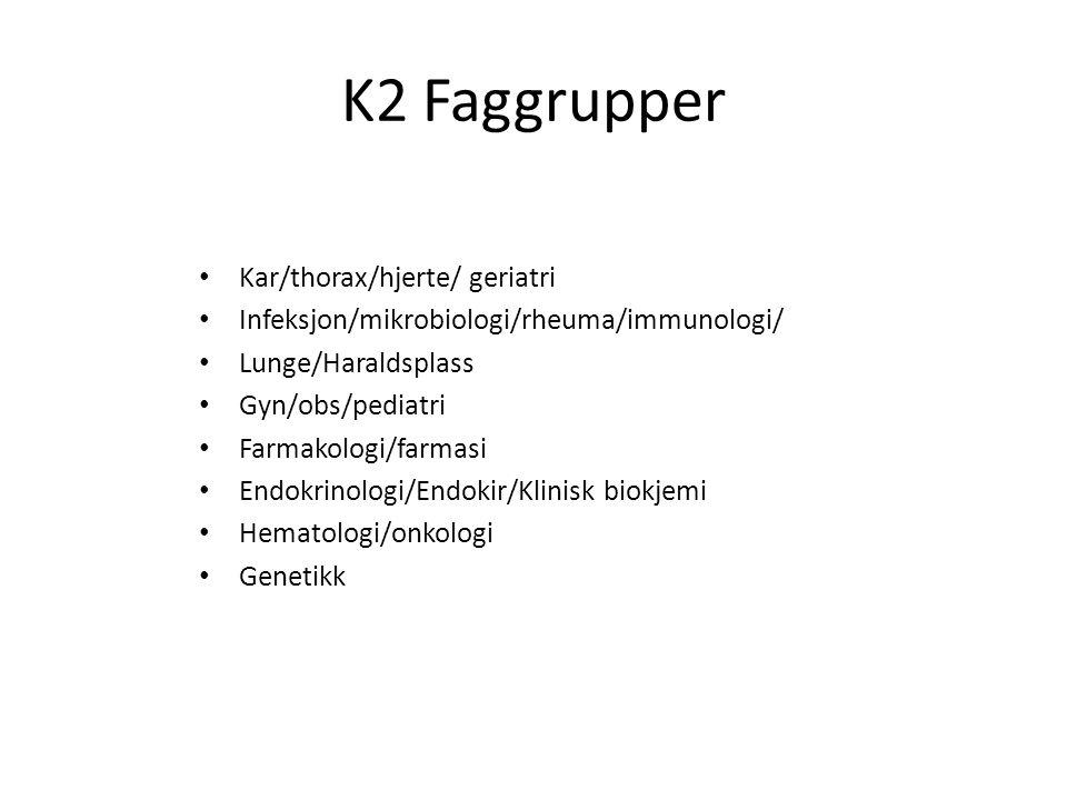 K2 Faggrupper Kar/thorax/hjerte/ geriatri