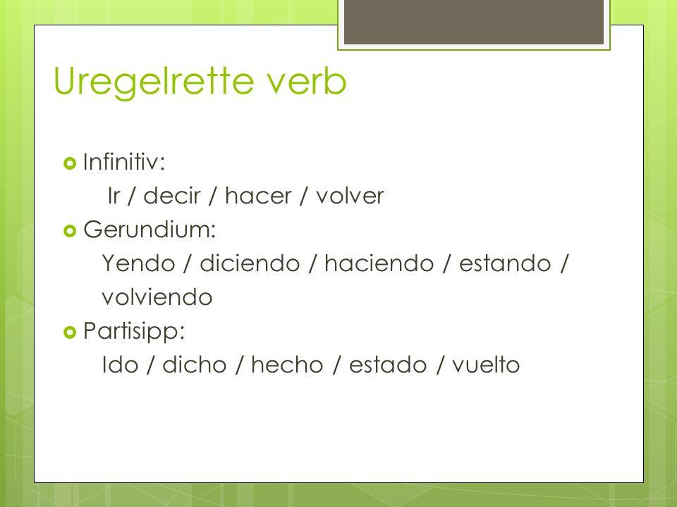 Uregelrette verb Infinitiv: Ir / decir / hacer / volver Gerundium:
