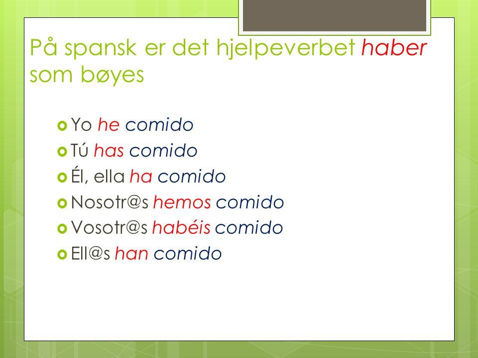 På spansk er det hjelpeverbet haber som bøyes