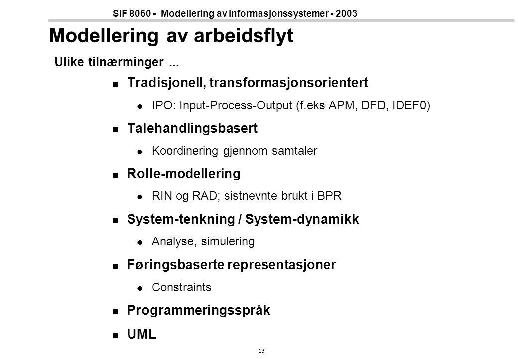 Modellering av arbeidsflyt Ulike tilnærminger ...