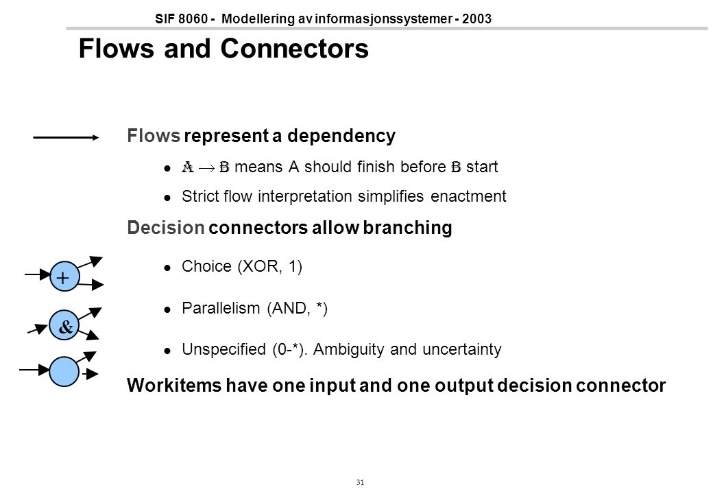 Flows and Connectors + & Flows represent a dependency
