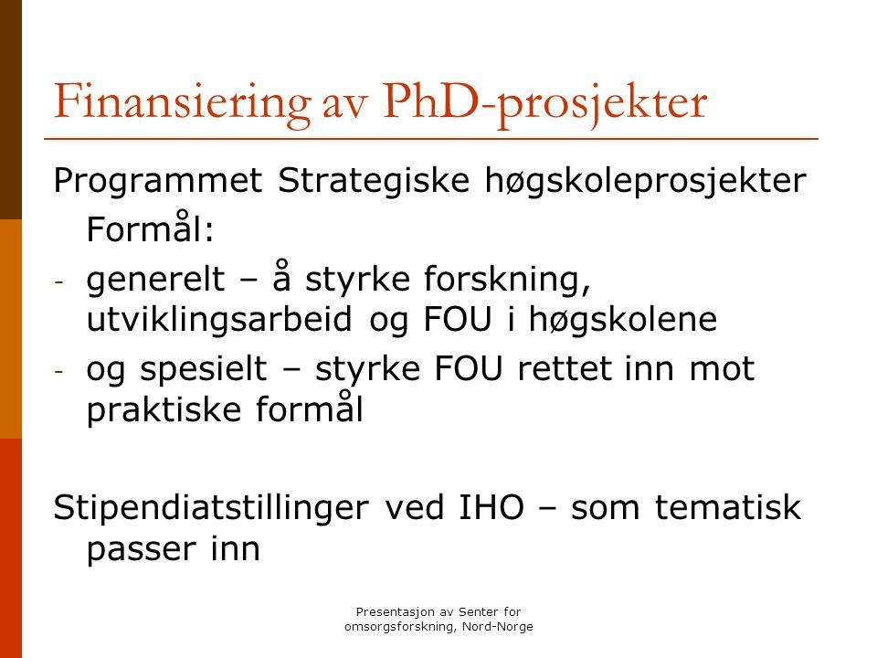 Finansiering av PhD-prosjekter