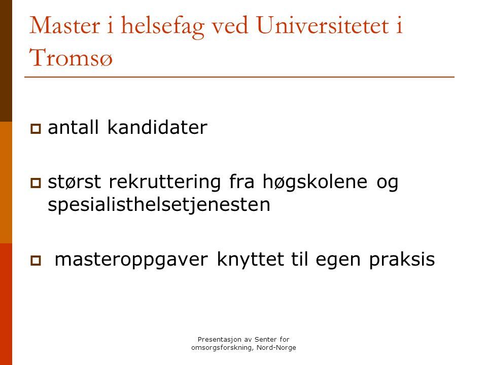 Master i helsefag ved Universitetet i Tromsø
